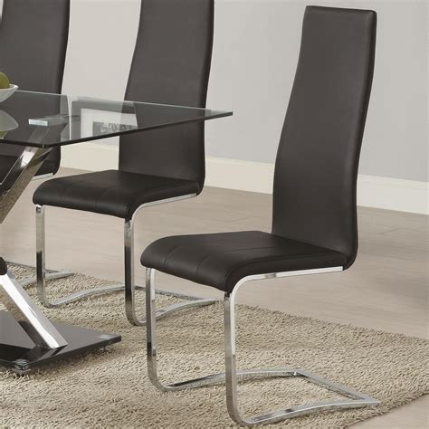 modern dining black faux leather dining chair  chrome