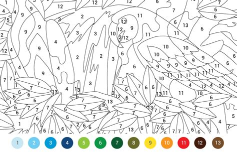 animals colouring  numbers  pattern
