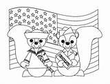 Coloring Veterans Cute Uniform Chipmunks Celebrating sketch template