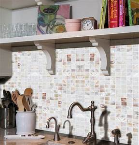 amazing backsplash with mother of pearl tile pem0034 With kitchen colors with white cabinets with original ford window sticker