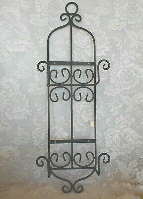 heavy black wrought iron wall  platepicture rack  larger platesplatters ebay
