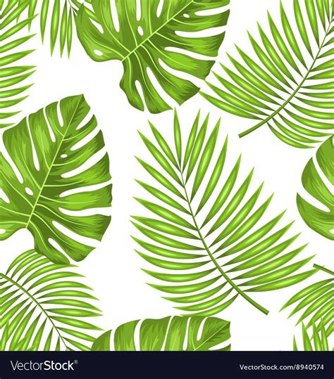 Abstract Green Leaf Wallpaper by Seamless Wallpaper With Green Tropical Leaves For Vector Image