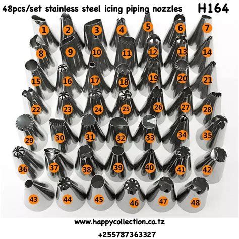 H164 48pcs/set stainless steel icing piping nozzles ...