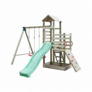 Aire De Jeux Soulet : aire de jeux en bois avec 2 balan oires 1 toboggan 1 mur ~ Melissatoandfro.com Idées de Décoration