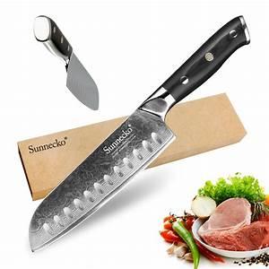 Sunnecko, Chef, Knife, 7, U0026quot, Inch, Santoku, Knife, Kitchen, Knives, Japanese, Damascus, Vg10, Steel, Core, Razor