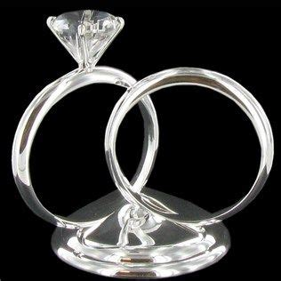 our cake topper his hers silver diamond ring cake