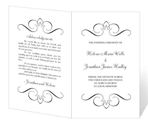 printable wedding program templates madinbelgrade
