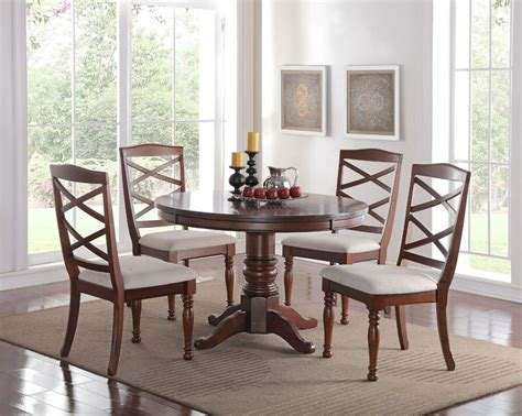 Dining Room Sets by 5pc Pedestal Cherry Finish Wood Kitchen Dining