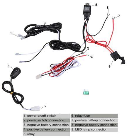 Led Work Fog Light Bar Wiring Harness Relay Kit