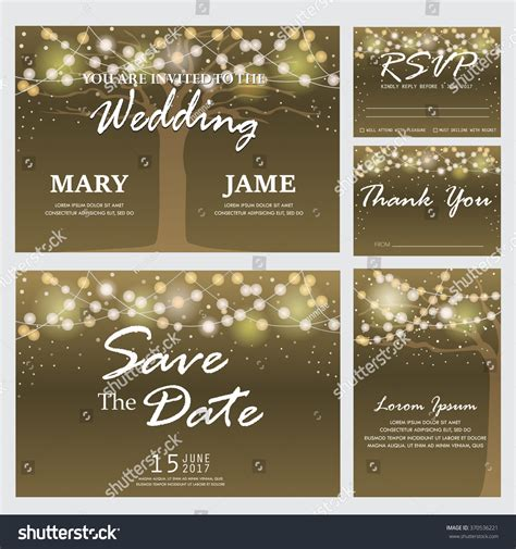Wedding Invitation Rsvp Thank You Card Stock Vector