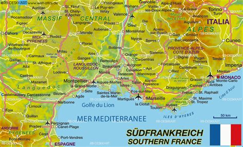 map  southern france region  france welt atlasde