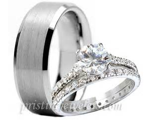 sterling silver wedding ring sets 3pc his hers tungsten 925 sterling silver engagement wedding ring womens set ebay