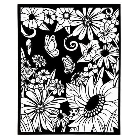 velvet coloring poster  markers flowers