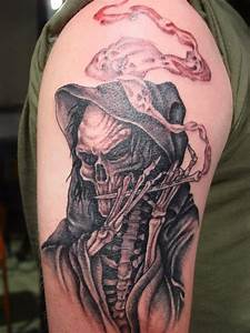 Grey Ink Grim Reaper Tattoo On Chest by Big Gus Ink