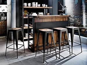 Tabourets cuisine industriel vintage noir bois deco for Deco cuisine avec acheter chaise design