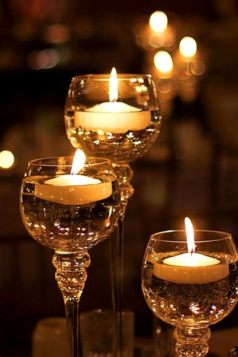 floating candles  wine glasses pictures