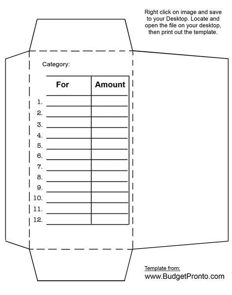 Money Envelopes Templates by Envelope Printout Template Budgeting
