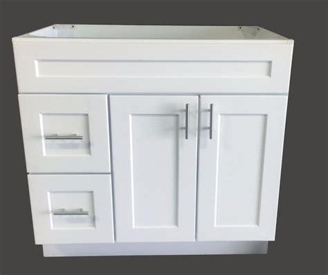 white shaker single sink bathroom vanity base cabinet