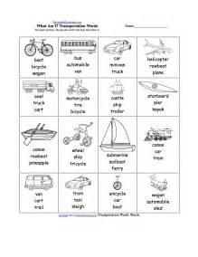 spelling worksheets transportation vehicles at