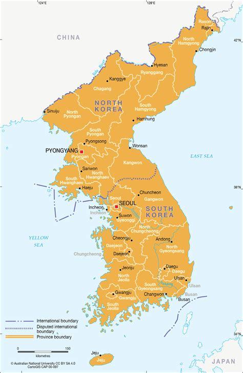 north  south korea provincial map cartogis services