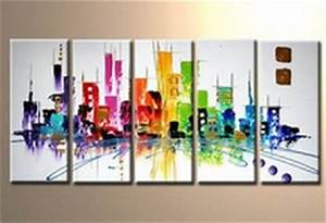 Tableau Moderne Coloré : tableaux peinture multicolore city ville town eva ~ Teatrodelosmanantiales.com Idées de Décoration