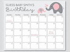 Free Printable Baby Due Date Guess Calendar Calendar
