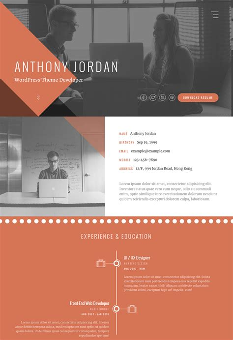 Interactive Resumes Websites by 15 Best Html Resume Templates For Awesome Personal