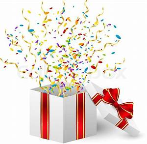Birthday gift box with color confetti Stock Vector