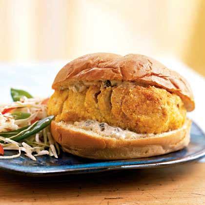 grouper sandwich cornmeal crusted baked tartar sauce recipe fish myrecipes