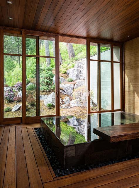 japanese bath design japanese design inspired pool house and spa showcases stunning lake views