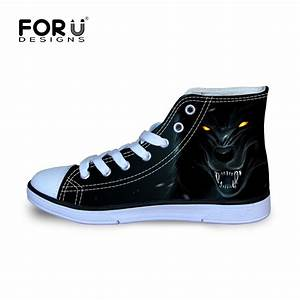 Brand High top Canvas Shoes for Men Cool Wolf Pattern Men ...