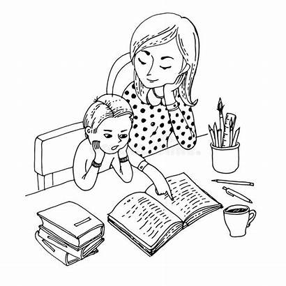 Mother Coloring Teaching Son Education Coloriage Boyama