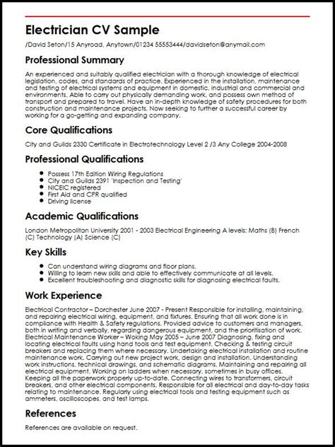 Electrical Supervisor Curriculum Vitae by Electrician Cv Sle Myperfectcv