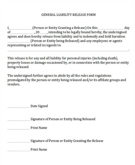 general release form template 7 general release of liability form sles sle templates