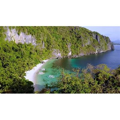 Aerial view of Seven Commandos Beach Bacuit Bay El-Nido