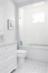 This, White, Bathroom, Features, A, Unique, White, And, Gray, Tile, Pattern, A, Stone, Slab, Counter, Top, And