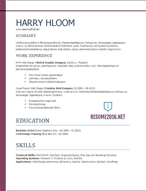 Exle Of Resume Format For by Resume Format 2017 20 Free Word Templates