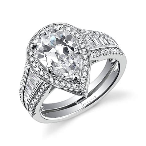 severine pear shaped engagement ring  halo sylvie