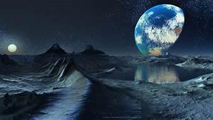 Space dawn planets moon fantasy art artwork wallpaper ...