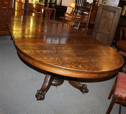 Table Oak Round Antique Feet Leaves Claw