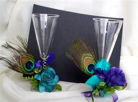 Wedding Decoration Accessories by Peacock Bridal Accessories Toasting Flutes Decoration Wedding