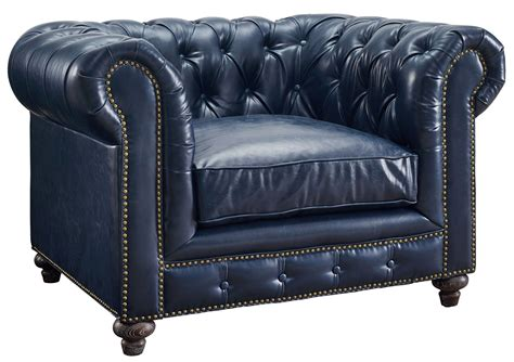 durango rustic blue leather club chair from tov c45