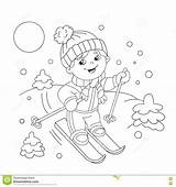 Coloring Outline Winter Cartoon Boy Sports Skiing Skis Riding Vector Illustrations Pages Illustration Ski Template Clip Clipart sketch template