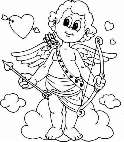 Coloring Valentine Valentines Cupid Pages Drawing Prepared