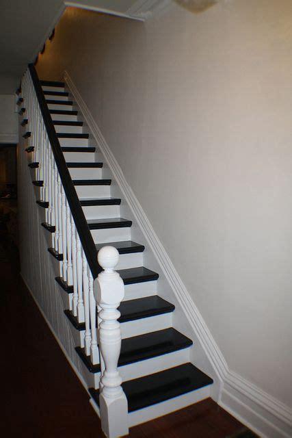 paint stair rail white  espresso accent color