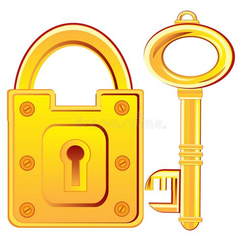 gold lock and key stock vector illustration of protection 48857685