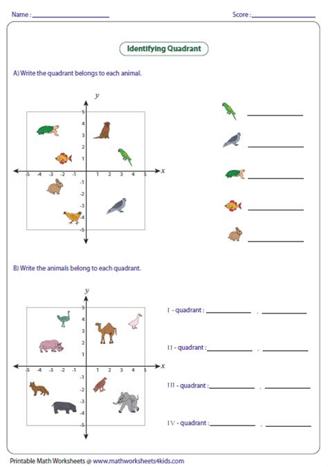 quadrant worksheets ordered pairs and coordinate plane worksheets