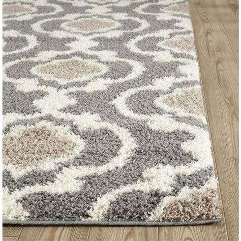 beige and grey area rugs cozy moroccan trellis gray indoor shag area rug 5 3