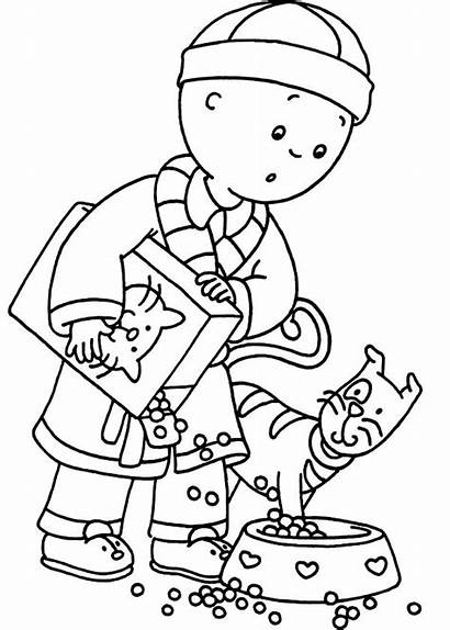 Coloring Cat Feed Caillou Gilbert Hard Button