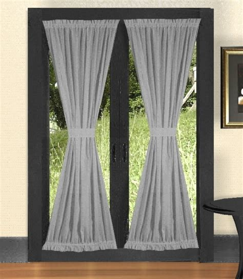 solid light silver gray colored door curtain